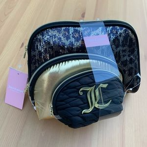 **NEW Juicy Couture 3pc Sequin Cosmetic Bags